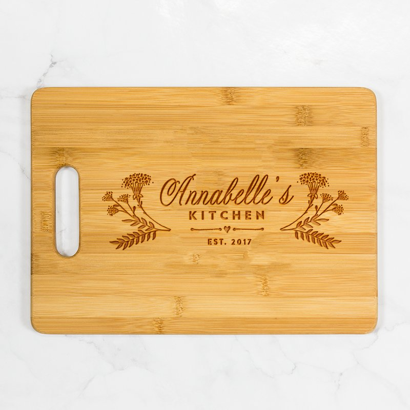 Floral Personalized Kitchen Bamboo Cutting Board