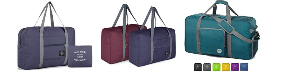 foldable duffel bags are great to add to your carry on luggage for any future purchases.