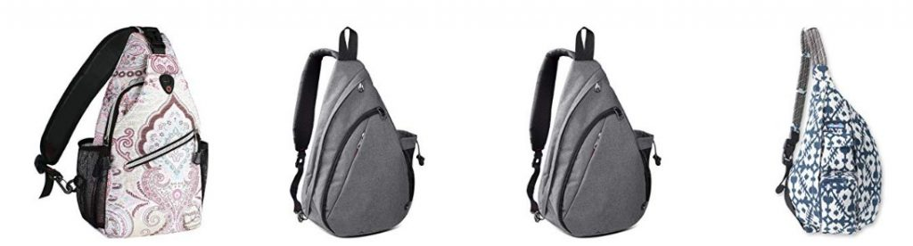Sling backpacks that fit under the seat are perfect travel companions.